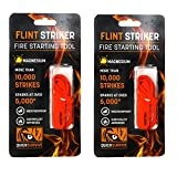 QUICKSURVIVE Magnesium Flint Striker Fire Starter Survival Tool (4 Inch) 10,000 Strikes, Sparks at Over 5,000 Degrees Fahrenheit - Weatherproof Travel Fire Starters for Campfires (2 Pack)