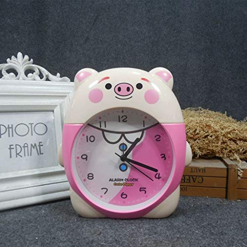 ZBNZ Lindo reloj despertador de alarma creativo simple oficina escritorio de escritorio reloj de alarma estudiante dormitorio messita de noche reloj regalo para niños (Color : Pink)