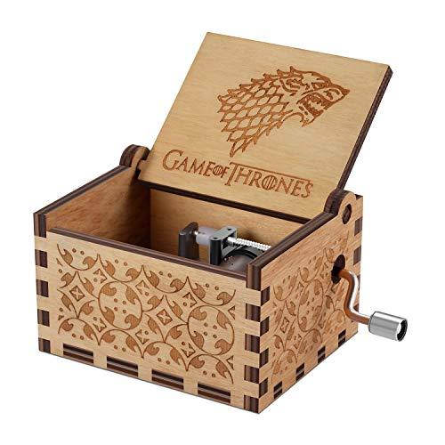 NNDUO Caja de música de madera de Juego de Tronos, manivela de mano, tallada antigua, caja de música de madera para decoración del hogar, manualidades, regalo de cumpleaños