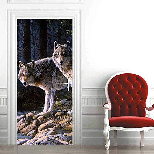LLWYH Türaufkleber Türtapete 3D Wolf Wasserdicht Selbstklebend Wandbild Türfolie Türposter Fototapete 95 x 215 cm