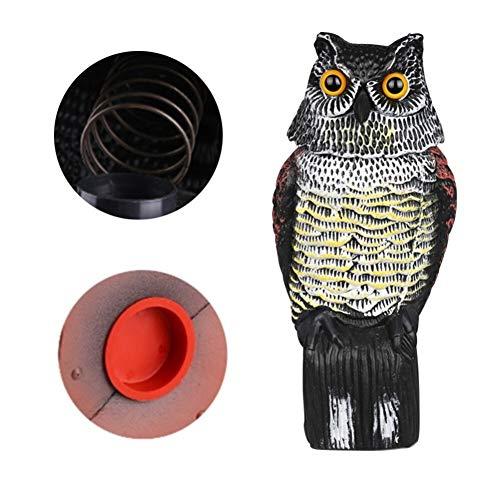 No logo buiten Realistic Vogel Scarer Rotating kop Owl Prowler Decoy Protection Repellent Scarecrow Tuin Yard Decor wordt gebruikt om vogels buiten te drijven