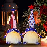 Halloween Lights Patriotic Gnome Plush , Thanksgiving Gifts Handmade Uncle Sam Hat Elk Tomte Light Up Elf , Figurine for Veterans Day Gifts, Holiday Decor(2pcs Lighted Gnome)