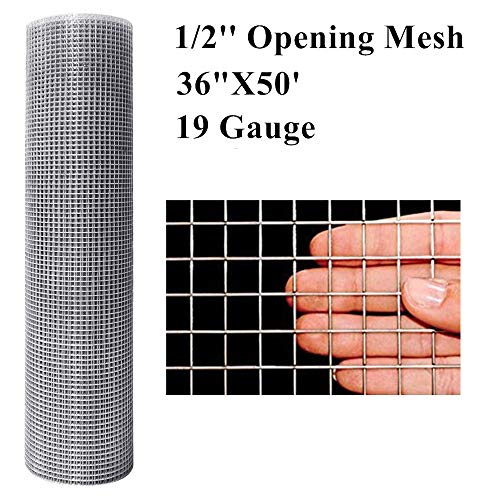 Amagabeli 36inx50ft 1/2 in 19Gauge Hardware Cloth Galvanized After Welded Cage Mesh Rolls Square Chicken Wire Netting Raised Garden Rabbit Fence Snake Fencing Rodent Animals Weasel Moles Raccoons