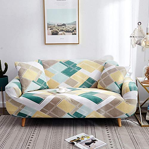 KOLIU Fundas elásticas para Fundas de sofá Funda de sofá elástica con Todo Incluido para sofá de Diferentes Formas Silla Loveseat Funda de sofá Estilo L-Amazon Geometric_3 Asientos 190-230 cm_China