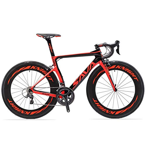 SAVADECK Phantom 2.0 700C Bicicleta de Carretera de Fibra de Carbono Shimano Ultegra R8000 22-Velocidad Sistema Michelin 25C Neumáticos Fi'zi: k Cojín (52cm, Negro Rojo- 78mm)