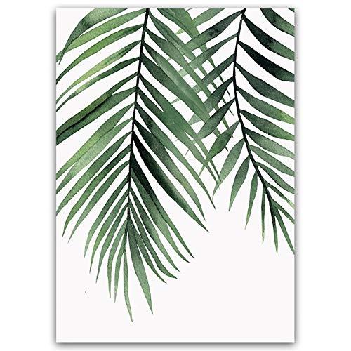 LiMengQi Aquarell Pflanze grünes Blatt leinwand ölgemälde Kunstdruck Poster Bild Wand einfache Moderne Schlafzimmer Wohnzimmer Dekoration (kein Rahmen)