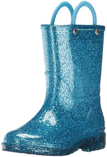 Western Chief Girl's Glitter Waterproof Rain Boot, Turquoise, 5 Toddler