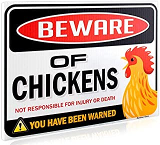 Best Bigtime Signs Beware of Chickens Warning Sign - 9 inches x 12 inches - Danger Sign Funny Gag Gifts for Chicken Fan Lovers - Corrugated Plastic - Indoor or Outdoor - Chicken Rooster Plaque Sign Review