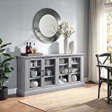BELLEZE Liam 70' Rustic Farmhouse Wood Sideboard Universal Stand 4 Doors Buffet Cabinet Living Room Glass Storage, Stone Grey