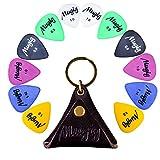 Mugig 12 púas para guitarras de varios tamaños espesores 0.5/0.8/1 / 1.14/1.2 mm, de 6 colores con una bolsita de cuero