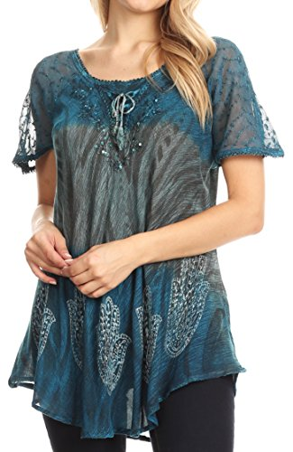 Sakkas 18715 - Camicetta Top Lily Casual Everyday Summer a Maniche Corte con Stampa Block & Lace - Turq - OS