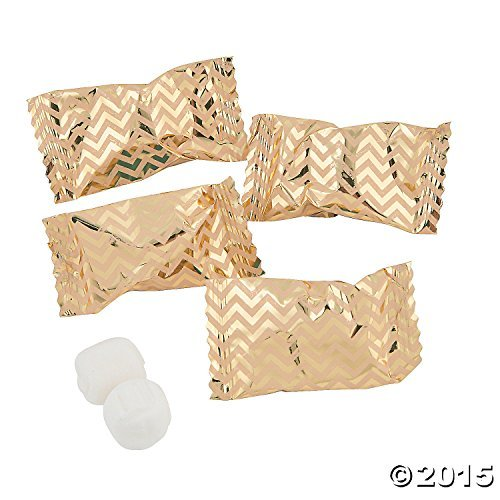 Wrapped Wedding & Special occasion Buttermints 108 Pc Bag (Gold Chevron)