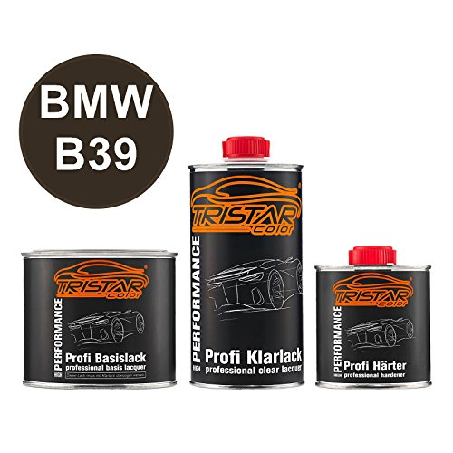 TRISTARcolor Autolack Set Dose spritzfertig für BMW B39 Mineralgrau Metallic/Mineral Grey Metallic Basislack + 2K Klarlack 1,25L