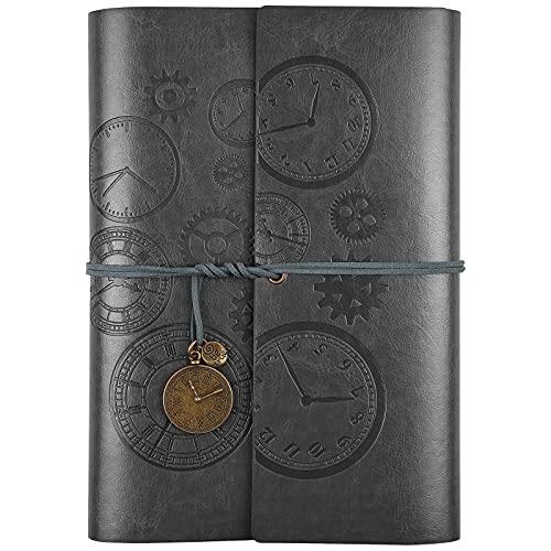 Cuaderno de piel con espiral vintage, diario de viaje, diario de escritura, con papel de línea, regalo para niñas, niños, A5, 23 x 16,5 cm, color gris
