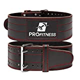 ProFitness Genuine Leather Gym Weight Belt Workout Belt Weightlifting Gym Belt for Men and Woman Comes (Black/Red, Small)