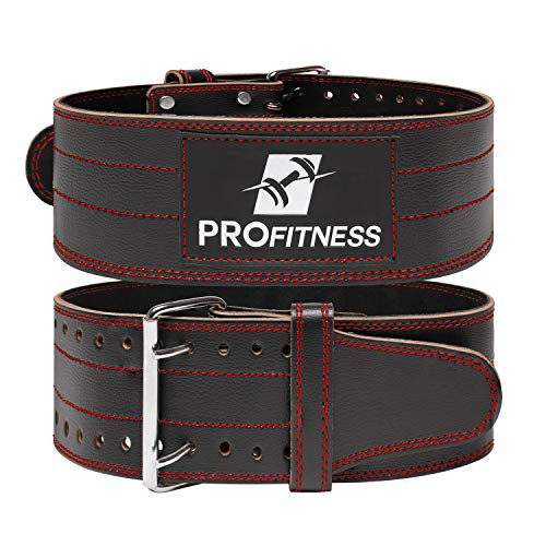 ProFitness Genuine Leather Workout Belt 4 Inches Wide Proper Weight Lifting Form Lower Back Support for Squats Deadlifts BlackRed X Large 42 49 Waist Size not Pant Size