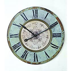 Creative Co-op Distressed Mint Green Round Wall Clock