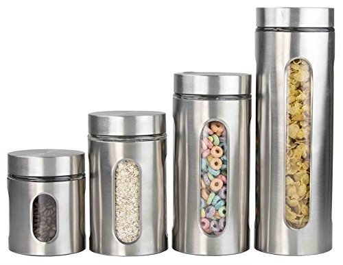 Home Basics Heavy-Duty and Attractive 4-Piece Stainless Steel Canister Set with Windows