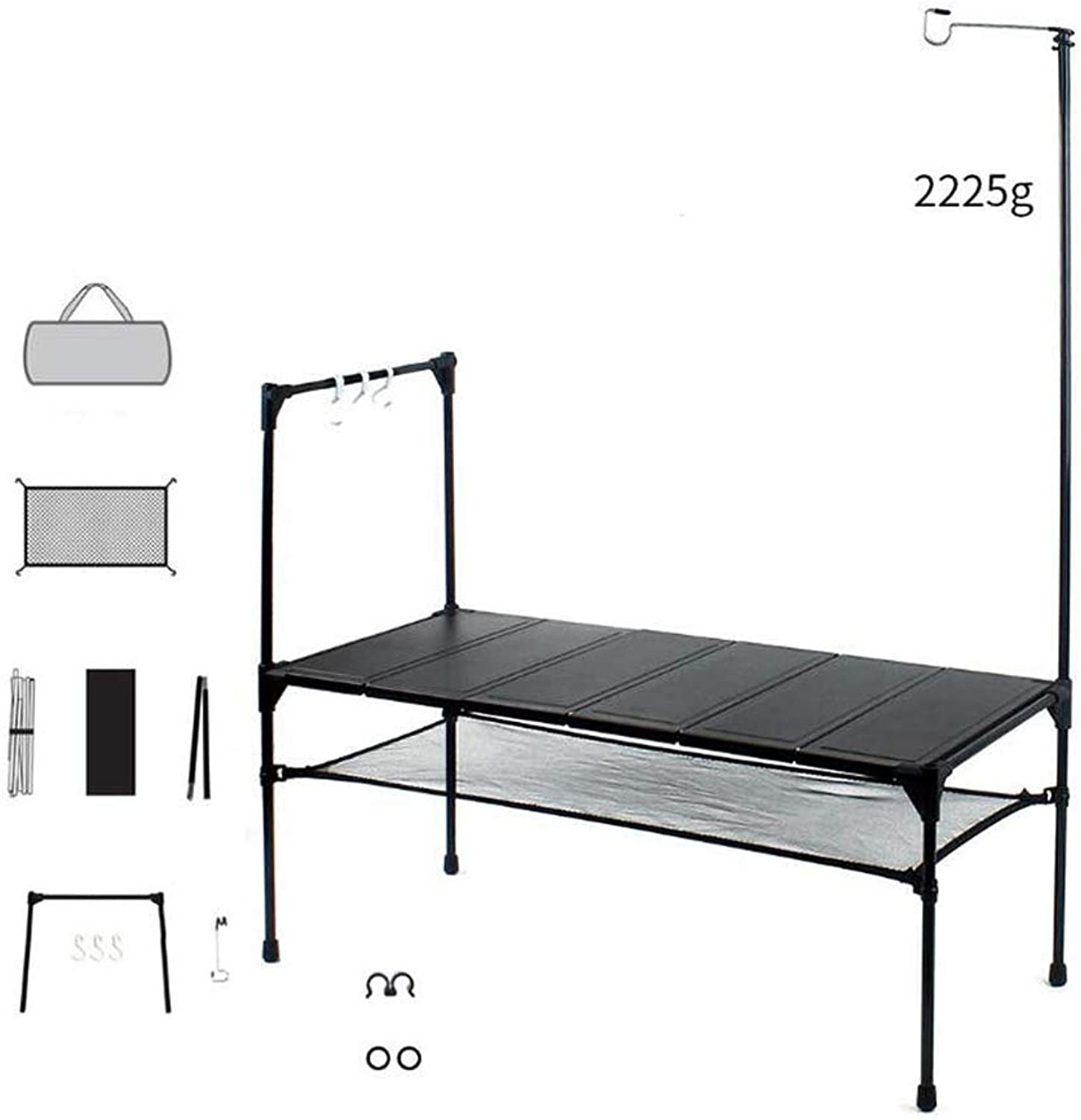 Camping Folding Table, Lightweight Portable - 6 Sheets of Aluminum Tabletop Free Splicing - with Light Stand Hook Up Net Pocket for Beach Backyard Barbecue
