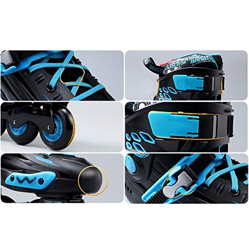 mfw@wewe Anti-collision Wear-resistant Inline Skates, Adult Men And Women Professional Roller Skates Comfortable And Breathable (Color : BLACK+BLUE, Size : 35)