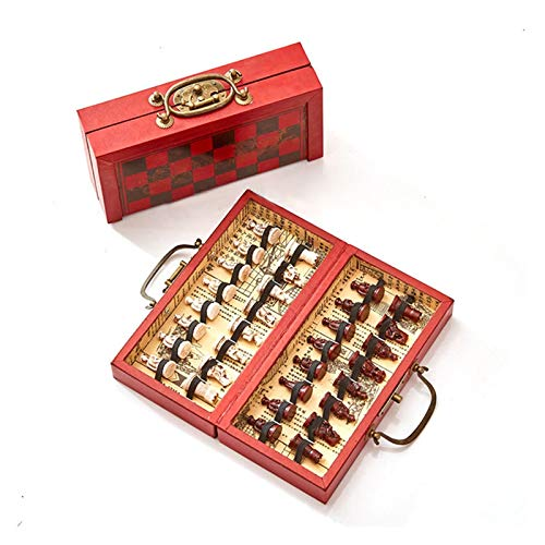 MICOLOD Plegable de Madera Ajedrez Internacional Juego de Ajedreos Terracotta Guerreros Ajedrez Piezas Ajedrez Juego Regalo Tablero Packaging Word Chess Bolsillo Plegable magnético (Color : 2)