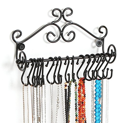 MyGift Wall Mounted Black Metal Scrollwork Design Jewelry Storage Organizer Rack w/ 20 Hanging SHooks