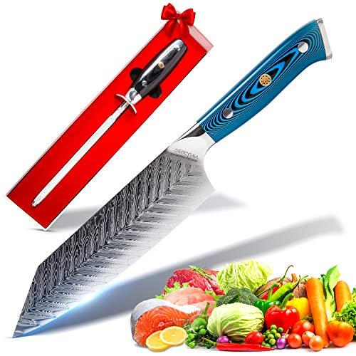 SEIRYUU 17cm/7-Inch Bunka Chef's Knife - Japanese Pro Chef Series - 73-Layer Stainless Steel VG10 Damascus Blade, Ladder Pattern - Double Steel Head Bellewood Handle, Sharpening Rod - Kitchen Tool