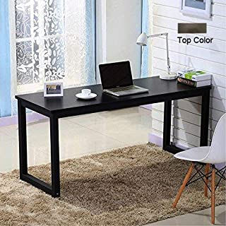 Writing Desk for Home and Office, 63in Writing Desks Large Study Computer Table Workstation,Black Walnut Wooden Top+Black Metal Leg
