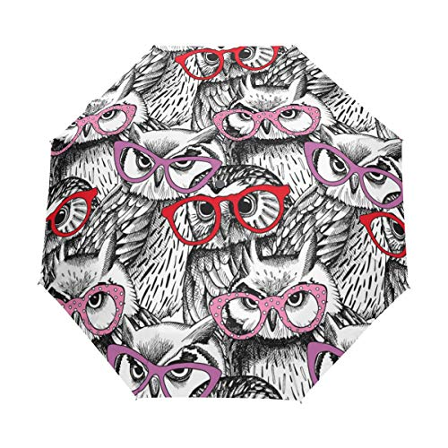 Regenschirm anpassen 3 Falten Weisheit Vogel Eulen Winddicht Auto Öffnen Schließen Leichte Anti-UV