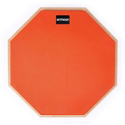 ammoon Übungspad 12 Zoll Practice Pad Drum Drumpad schlagzeug set mit Drumstick Tragetasche für Schlagzeugspieler Anfänger, Orange