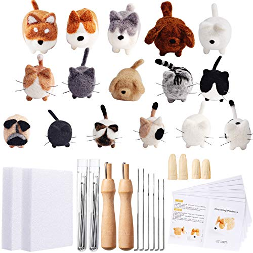 Needle Felting Beginner Kit 16 Pieces Doll Making Manual Wool Needle Felting Starter with Instruction, Felting Foam Mat and DIY Needle Felting Supply for Christmas, Children's Day, Festival Craft