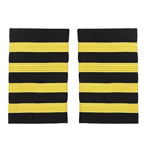Agoky 1 Paar Pilot Uniform Epaulette Traditionell Professionelle Führer Marine Schulterklappen mit goldenen Nylon Streifen Gold Vier Streifen One Size