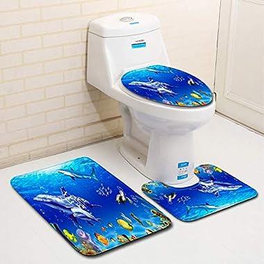 Undersea World Bathroom Floor Mat Toilet Three-Piece Bathroom Carpet 40x60cm/50x80cm Doormat Door mat (Color : Style 2, Speci