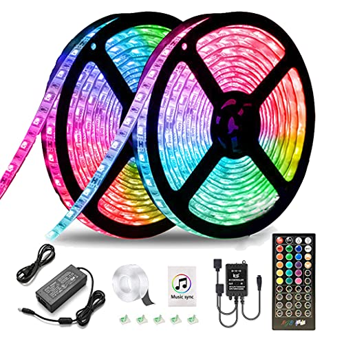 LED Strip Lights Music Sync Waterproof LED Light Strip with Timing Function,32.8ft Ultra Bright 5050 SMD RGB Color Changing Light Strip with 40 Keys IR Remote Controller and 12V Power Supply