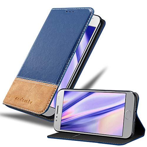 Cadorabo Hülle für Motorola Moto G5S in DUNKEL BLAU BRAUN – Handyhülle mit Magnetverschluss, Standfunktion & Kartenfach – Hülle Cover Schutzhülle Etui Tasche Book Klapp Style