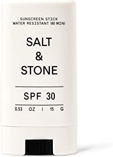 Salt & Stone - SPF 30 Sunscreen Stick - Mineral, Zinc Oxide, Broad Spectrum, Water Resistant, Reef Safe, Face + Body, Mois...