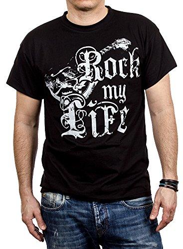 Camiseta Rock con Guitarra Hombre Negro L
