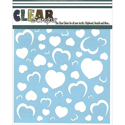 Clear Scraps CSSM6-HRTWL Translucent Plastic Film Stencil, Heart Wallpaper, 6-Inch x 6-Inch