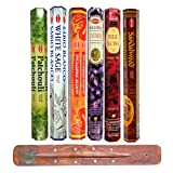 HEM Incense Sticks - 6 unique and premium flavours - Sandalwood, Red Rose, Lavender, Dragons Blood, White Sage, Patchouli with SAMASIA incense holder