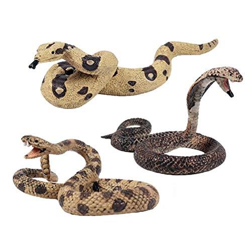 FLORMON Figuras de Animales 3 Piezas Realista Serpiente Modelo de acción El plastico Animal Salvaje Juguetes de Fiesta favores Juguetes educativos de la Granja Forestal Regalo para niños