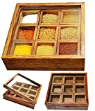 affaires Handmade Masala Box/Dabba/Lock Spice Rack Container, Utility Box/Hand Crafted Spice Box Gift Your Valentine's on Special Day/Christmas W-40191