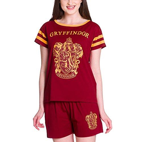 Elbenwald Harry Potter Pyjama Hogwarts Häuserwappen Gryffindor Frontprint 2teilig für Damen kurz rot - XS