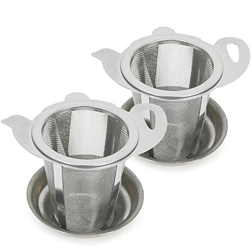 COM-FOUR® 2x theezeef van roestvrij staal - theefilter met lekbak - fijnmazige theezeef voor losse thee en kruiden (02 stuks - Ø 6,4 cm met lekbak)