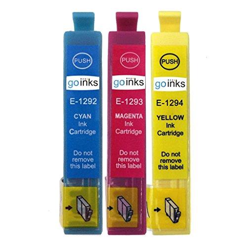 1 Go Inks Set van 3 inktcartridges ter vervanging van Epson T1295 C/M/Y Compatible/non-OEM voor Epson Stylus Office-printers (3 inkt)