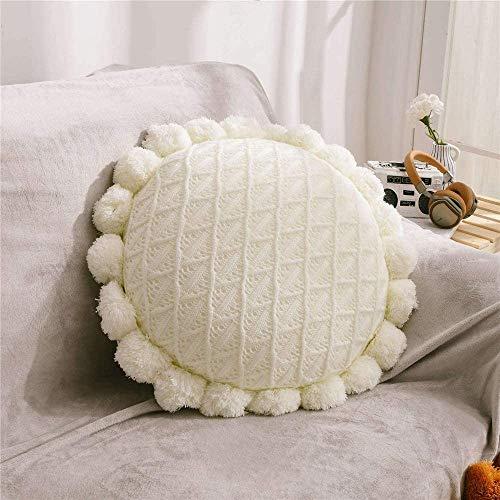 Cojines Redondos para futón, cojín Decorativo Boho con Pompones, Almohadas Tejidas para la decoración casera del sofá (Color : White)