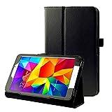 subtel® Smart Case Compatibile con Samsung Galaxy Tab 4 8.0 (SM-T330 / SM-T331 / SM-T335) Similpelle Custodia Borsa Guscio Flip Cover Case Nero