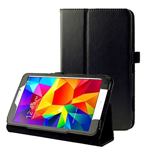 subtel Smart Case Compatibile con Samsung Galaxy Tab 4 8.0 (SM-T330   SM-T331   SM-T335) Similpelle Custodia Borsa Guscio Flip Cover Case Nero
