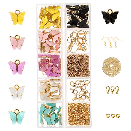 NIBESSER Schmetterling-Anhänger Basteln Charm Schmuckanhänger Ohrringe Armbänder Halskette DIY Halskette Armband Ohrringe DIY Schmuck Basteln für Schmuckherstellung 72PCS(15x8x2cm)