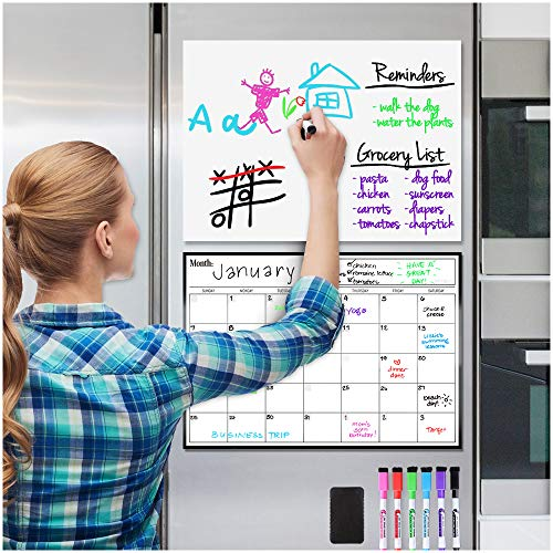 Magnetic Dry Erase Whiteboard and Calendar Bundle for Fridge: 2 Boards Included - 17x12' - 6 Fine Tip Markers and Large Eraser with Magnets- Monthly Whiteboard for Refrigerator Wall: Dry Erase Board