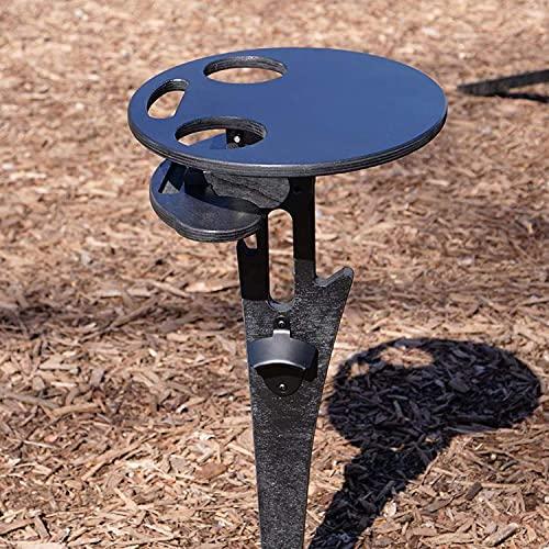 Mzeyuan Mesa de vino al aire libre con soporte para botellas, mesa de playa portátil para arena y hierba, mesa de vino al aire libre, mesa de picnic plegable para exteriores, jardín, viajes (C)